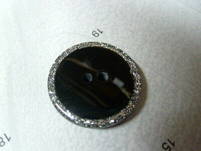 SELECTION OF COLOUR- 2pcs LARGE POLY BUTTONS WITH SILVER GLITTER EDGE 22mm