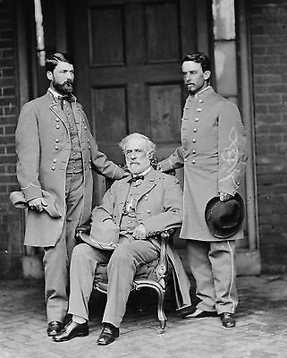 Civil War Photo-General Robert E, Lee with Lee's Aid and His Officer Son