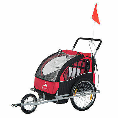 2-IN-1 Bike Trailer Double Baby Stroller Jogger Bicycle Red Black