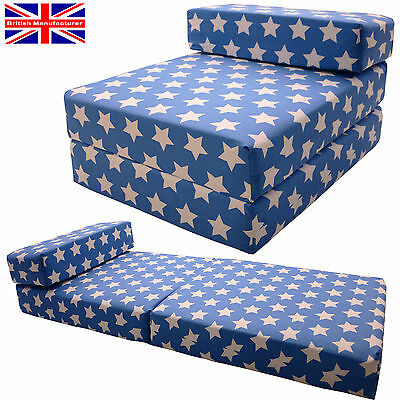 BLUE STARS Fold out Chair Sofa Bed Z Guest Folding Futon Single Chairbed Gilda®