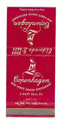 Copenhagen Danish Restaurant New York Matchbox Label America