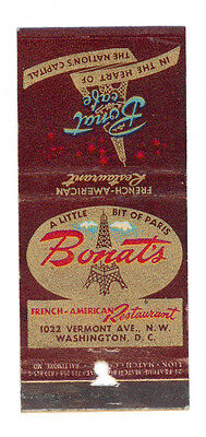 Bonat's French American Restaurant New York Matchbox Label America