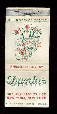 Chardas Hungarian Cuisine Restaurant New York Matchbox Label America