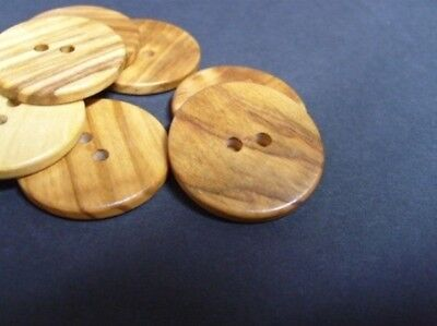 10 X FLAT WOODEN NATURAL ITALIAN OLIVE BUTTONS 10-15-18-21-23-25-28-30mm - W1108