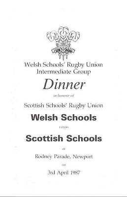 WALES v SCOTLAND SCHOOLS UNDER 16 3 Apr 1987 RUGBY DINNER MENU BOOKLET