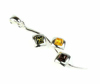 925 Sterling Silver & Baltic Amber Jewellery -  AA206M2 - Designer Pendant