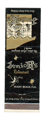 Junior's Restaurant Miami Beach Florida Matchbox Label Anni '50 America