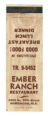 Ember Ranch Restaurant Homewood Alabama Matchbox Label Anni '50 America