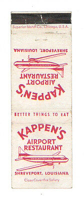 Kappen's Airport Restaurant Shreveport Louisiana Matchbox Label Anni '50 America