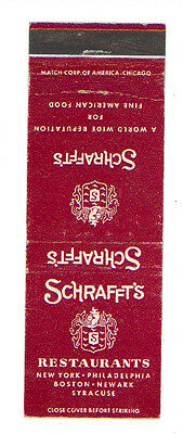 Schrafft's Restaurant's New York Philadelphia Matchbox Label Anni '50 America
