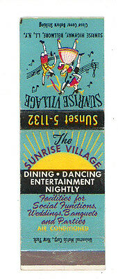 The Sunrise Village Dining Dancing Bellmore Matchbox Label Anni '50 America