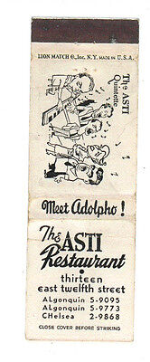 The Asti Restaurant Quintette New York Matchbox Label Anni '50 America