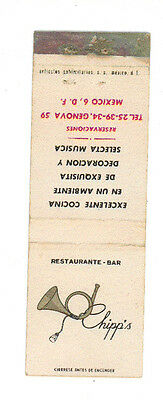 Chipp's Restaurante Bar Mexico Matchbox Label Anni '50 America