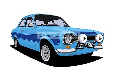 Ford Escort Rs2000 Car Art Print Picture (Size A3). Personalise It!