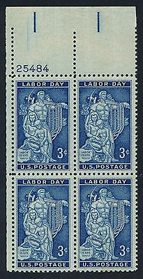 US 1082 3c Labor Day Labor Is Life Plate Block = MINT VF NH OG