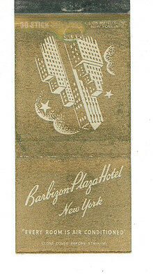 Barbizon Plaza Hotel New York Matchbox Label Anni '50 America Scatola Fiammiferi