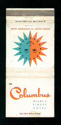 The Columbus Hotel Miami Florida Matchbox Label Anni '50 America