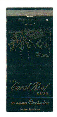 The Coral Reef Club St. James Barbados Matchbox Label Anni 50 America Fiammiferi
