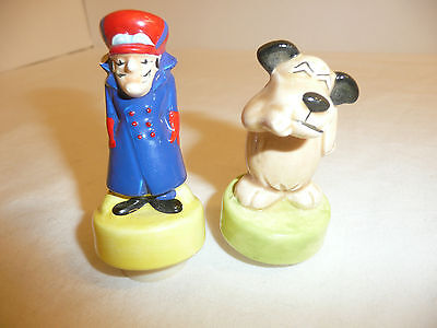 Lot of 2 Wacky Races Figures - Dick Dastardly and Muttley - Suction Cup Bottom