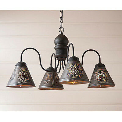 Cambridge Four-arm Wooden Chandelier Light with Tin Shades in Black over Red