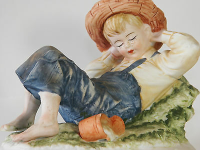 Vintage Lefton China KW3839, Hand Painted, Country Boy Napping, Excellent Cond.