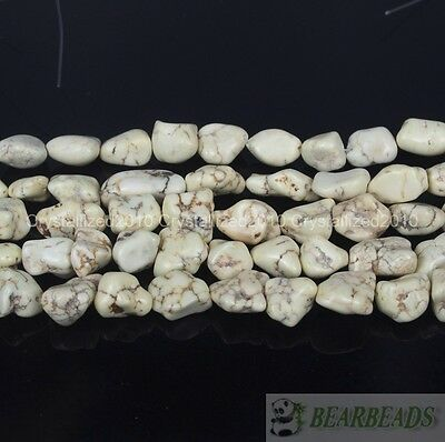 White Howlite Turquoise Gemstone 12mm Freeformed Nugget Spacer Loose Beads 16""
