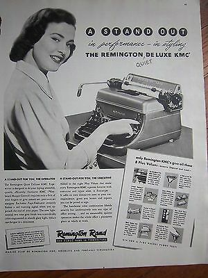 1948 Remington Rand Deluxe KMC Quiet Typewriter in Performance Styling Ad