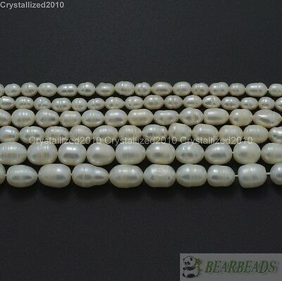 Natural Freshwater White Pearl Oval Rice Beads 4mm 6mm 7mm 8mm 9mm 10mm 11mm 15""