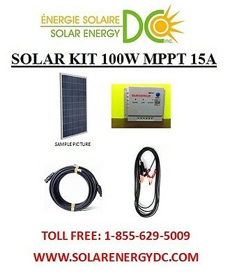 Solar Panel KIT Panneau Solaire 100 Watt Poly W MPPT charger cable MC4 BOAT RV
