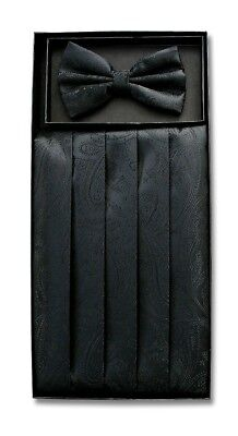 Cumberbund & BowTie Solid BLACK PAISLEY Color Men's Cummerbund Bow Tie Set