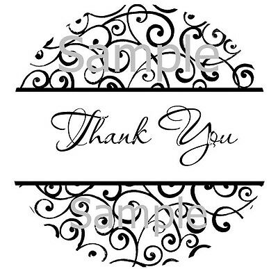 "THANK YOU STICKERS BLACK SWIRLS - 1"" STICKER / SEAL LABELS"