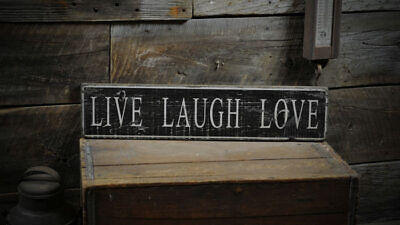Live Laugh Love Wood Sign - Rustic Hand Made Vintage Wooden Sign
