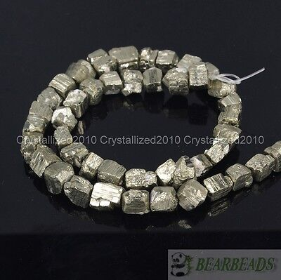 Natural Iron Pyrite Gemstone Cutting Freeformed 6mm - 8mm Nugget Loose Beads 16""