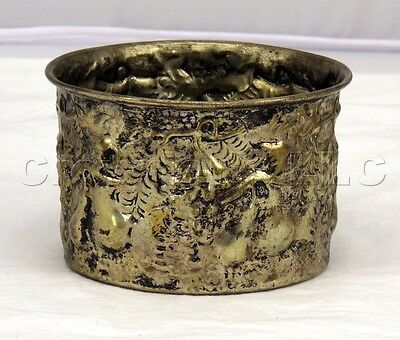 Vintage Aged Nickel Plated Brass Decorative Tarnished Fruit Design Bowl Cup
