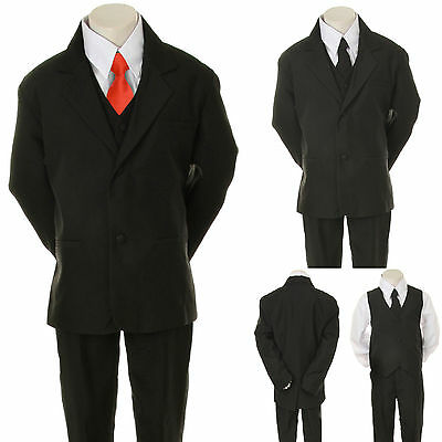 New Kid Child Boy Black FORMAL Wedding Party Tuxedo Suit + Red Necktie sz 5-20