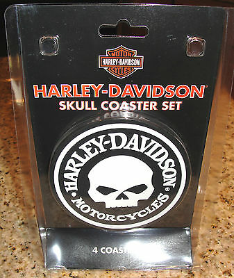 Harley Davidson Motorcycles Willie G Skull Logo Coaster Set Of 4 Rubber