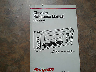 Snap On MT2500 MTG2500 Scanner Chrysler Reference Manual 9th Edition 1998