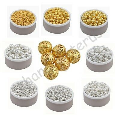 Gold & Silver Plated Alloy Fine Space Loose Hollow Beads Charms 4 6 8 10 12 mm