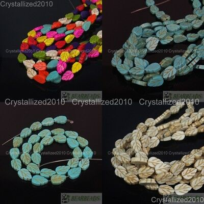 """White Blue Mixed Howlite Turquoise 9mm x 13mm Lovely Leaf Spacer Loose Beads 16"""""""