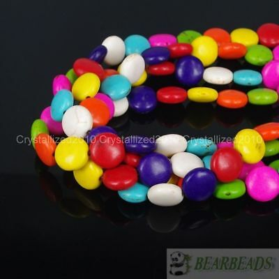 """White Blue Mixed Howlite Turquoise 12mm Round Candy Coin Spacer Loose Beads 16"""""""