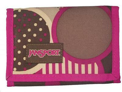 New Jansport brown/purple choc chip adults bifold polyester purse wallet