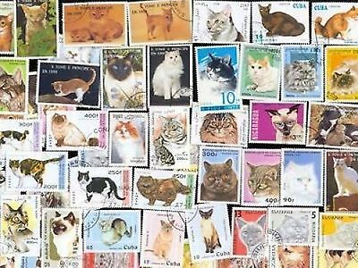100 All Different Cats On Stamps