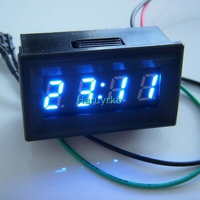 "0.30"" LED Electric Vehicle Digital Car Motorcycle Clock Watch Time 12V 24v blue"