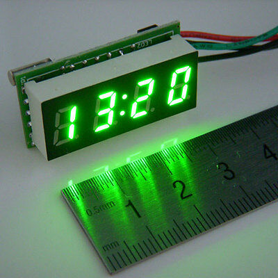 "0.30"" LED Electronic Digital Car Motorcycle Clock Watch green LED DC 12V/24V"