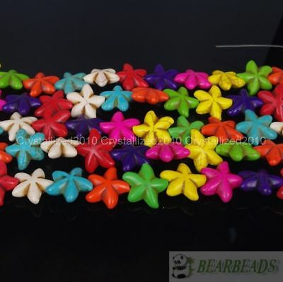 """White Blue Mixed Howlite Turquoise Gemstone 22mm Starfish Spacer Loose Beads 16"""""""