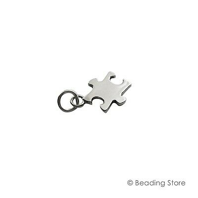 925 Sterling Silver Autism Awareness Puzzle Piece Charm Pendant Charms Jump Ring