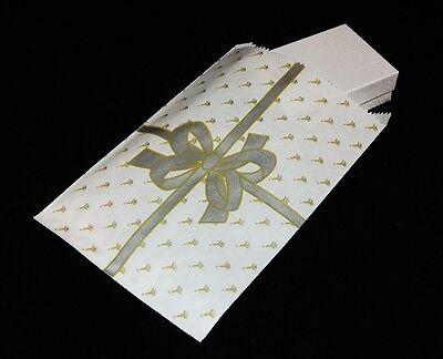 100 Gift Or Shopping Bags Gold Bow Design