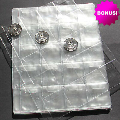 10pcs Album Pages 20 Pockets Money Coin Note Currency Holder Collection