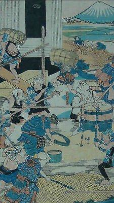 Antique 19C Japanese Woodblock Onpaper Painting Of Workers Preparing Rice,Signed