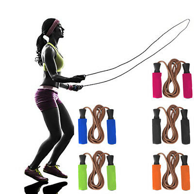 Skipping Speed Leather Jump Rope Weighted Fitness Boxing Gym Bearings Twist Free